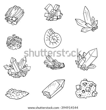 minerals,stones and cristals, ink drawing isolated elements at white background,hand drawn vector illustration