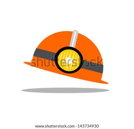 miners helmet - stock vector