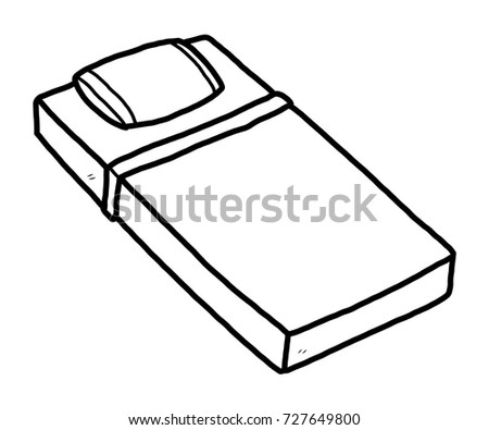 Mini Bed Cartoon Vector And Illustration Black White Hand Drawn Sketch