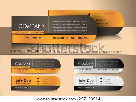 Mini brown business card design - stock vector