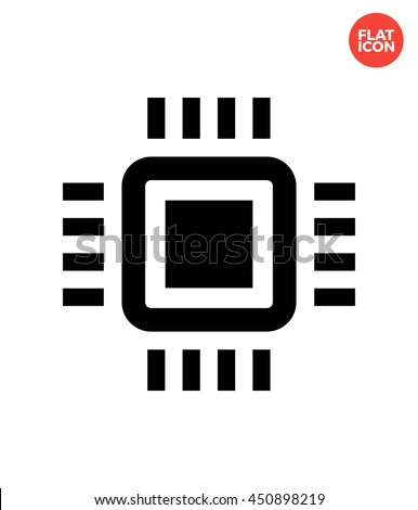 Mini Cpu Icon Flat Style Mobile Stock Vector Royalty Free