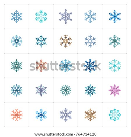 Mini Icon set – snowflake icon vector illustration. Design for new year and Christmas celebration