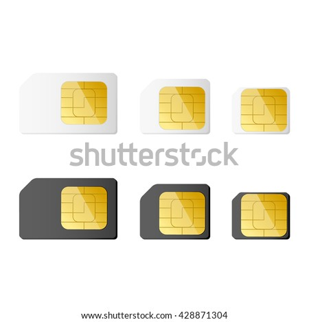 Mini, micro, nano sim cards in black and white color. Vector illustration. EPS 10. - stock vector
