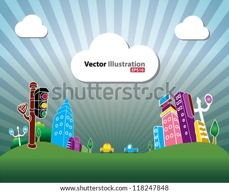 Mini town - stock vector