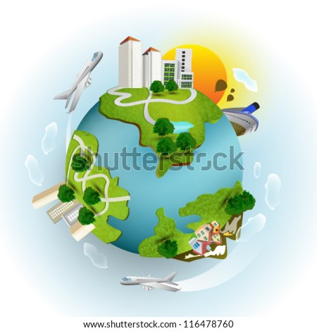 Miniature planet - stock vector