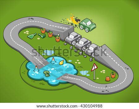 Miniature stunt car jumps over three cars with burning exhaust on a loop road leading straight through a pond (isometric view)
