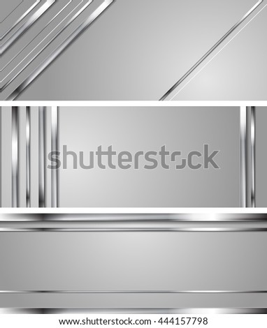 Minimal abstract technology silver vector headers. Metallic stripes on grey backdrop. Hi-tech chrome metal banners - stock vector