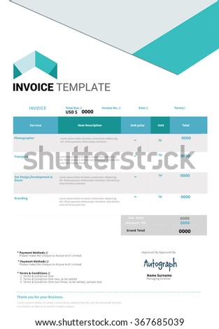 minimal business invoice template design stock vector royalty free