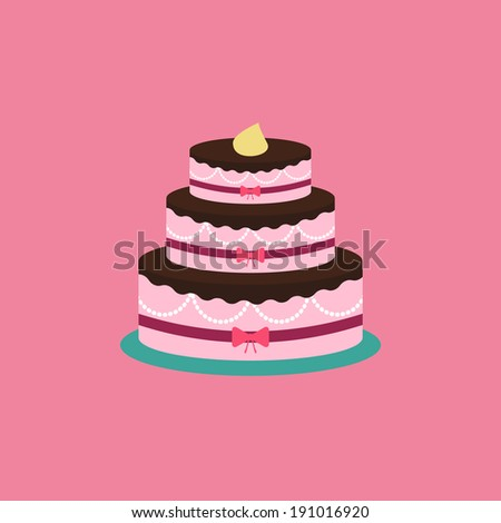 Minimal cake illustration, with cream. Cake icon, on pink background. Colorful template, for wedding. Holiday concept. Easy to edit. Vector illustration - EPS10. - stock vector