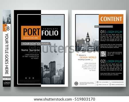 Minimal cover book portfolio presentation layout.Black abstract square brochure design report business flyers magazine poster.Portfolio design template vector layout.City design on A4 brochure layout.