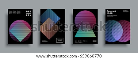 Minimal covers design set. Simple shapes with trendy gradients. Eps10 layered vector.