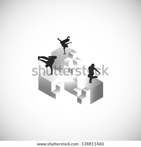 minimal cubes art with breakdance silhoutte. - stock vector