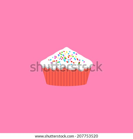 Minimal cupcake. Cartoon muffin illustration. Food desert element, for flyer, brochure, card, poster, menu. Easy to edit. Vector illustration - EPS10. - stock vector