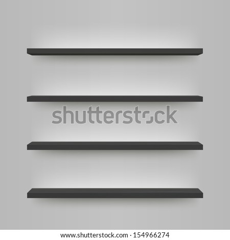 Minimal 3d black wood bookshelf design  Eps 10 vector illustration - stock vector