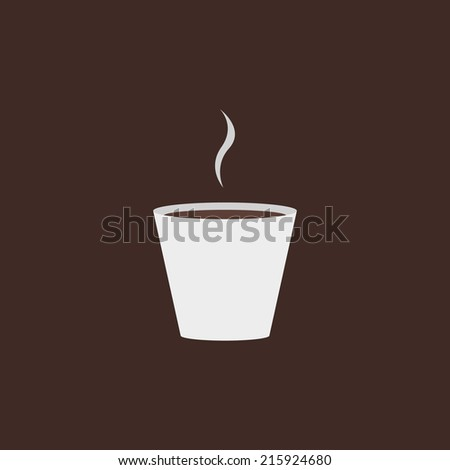 Minimal design coffee cup. Coffee illustration, with smoke and paper cup. Use for menu, card, poster, brochure, banner, web. Easy to edit. Vector illustration - EPS10. - stock vector