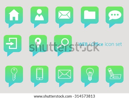 minimal flat and outline drawing web or office icon set white icons on green and blue message bubble