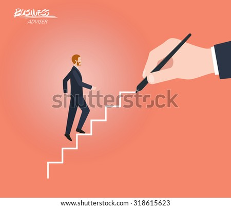 Minimal flat character of business adviser concept illustrations