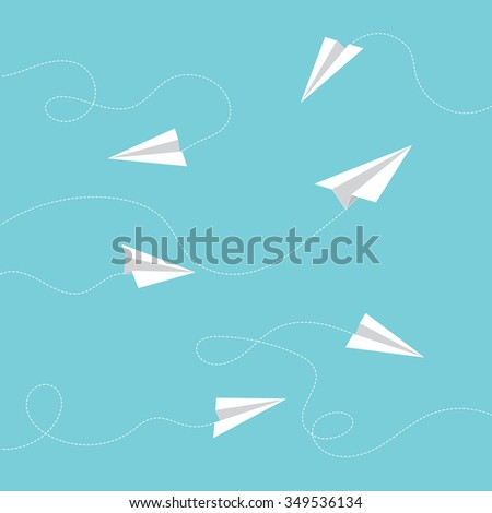 Minimal Flying Airplanes Design Vector Background - stock vector