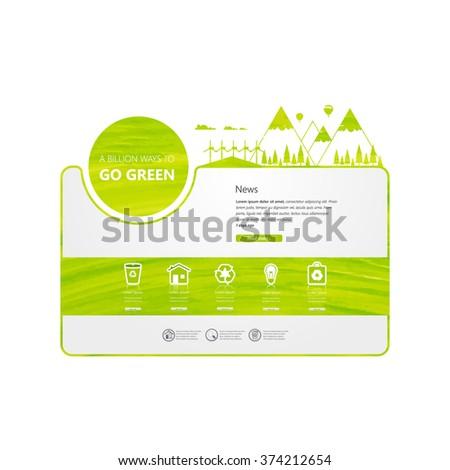 Minimal Green Eco Website Design Vector - stock vector