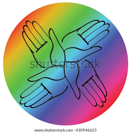 minimal hands together rainbow symbol vector
