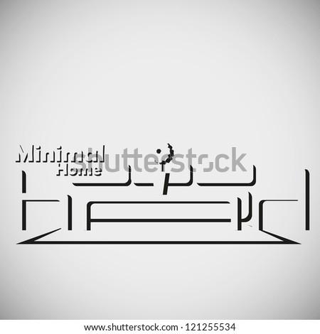 minimal home, minimalsit  vector illustration - stock vector