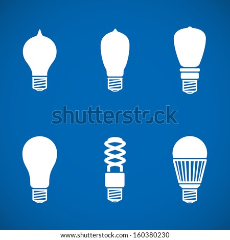 Minimal icons with evolution of lamps from oldest to LED - stock vector