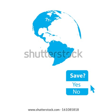 Minimal illustration of globe with question raising awareness. Highly detailed. - stock vector
