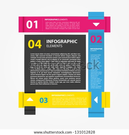 Minimal infographic and presentation with five textbox - stock vector