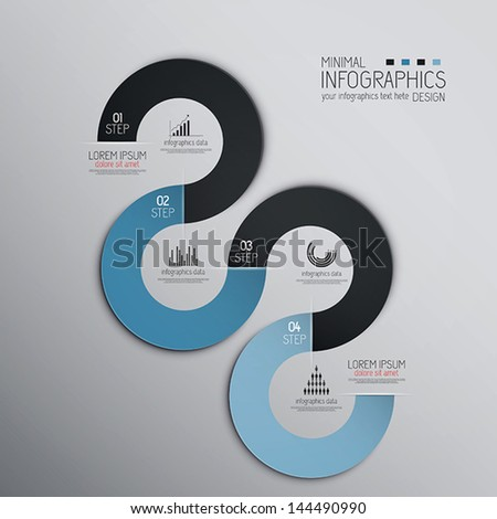 Minimal infographics design. Vector can be used for workflow layout, diagram, number options, web design.Origami design - stock vector