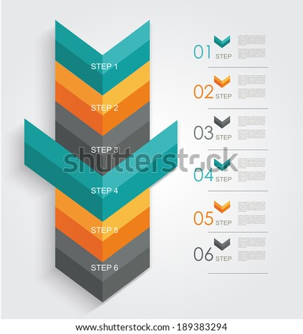 Minimal infographics or Step banners template in Arrow style. Vector. - stock vector
