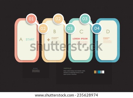 Minimal  infographics template design.label design with place for your content.communication, business, social media, technology, network and web design. Parts of infographic. Vector elements. - stock vector