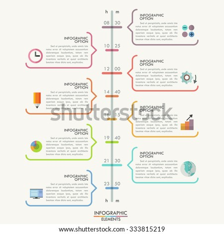 Minimal Infographics Timeline Template Colorful Outline Stock Vector