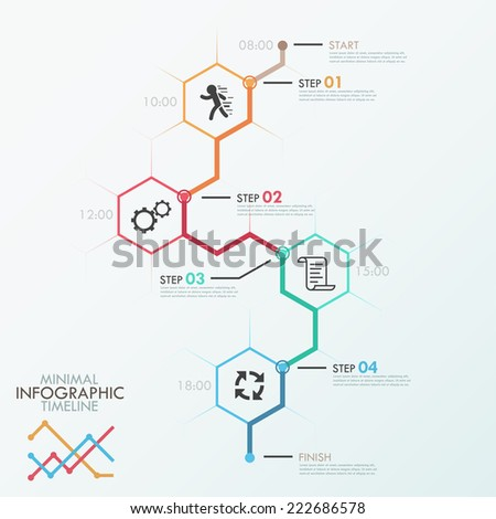 Minimal infographics timeline template with polygons, icons and text. Vector. Can be used for web design and  workflow layout - stock vector