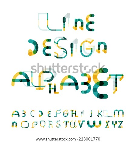 Minimal line segments design alphabet, font, typeface isolated on white. - stock vector