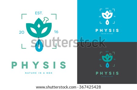 MINIMAL LOGO DESIGN OF A DROP COMING OUT OF A FLOWER . THE NAME PHYSIS IN GREEK MEANS NATURE . IDEAL FOR NATURAL PRODUCTS, OILS OR HOMEOPATHIC MEDICINE  - stock vector