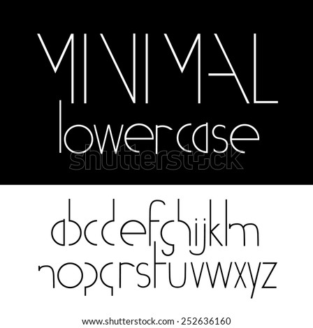 Minimal lowercase Font Symbol Icon Alphabet A through Z. EPS 10 Vector royalty free stock illustration for headlines, business, adding visual interest to graphics, ads, marketing, posters, design - stock vector