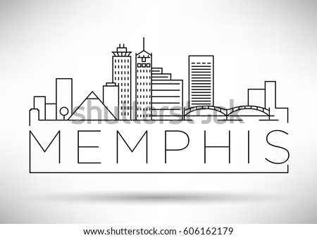 Minimal Memphis Linear City Skyline Typographic Stock ...