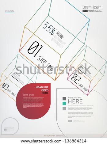 Minimal modern infographic elements on light background/ Vector illustration/EPS 10. - stock vector