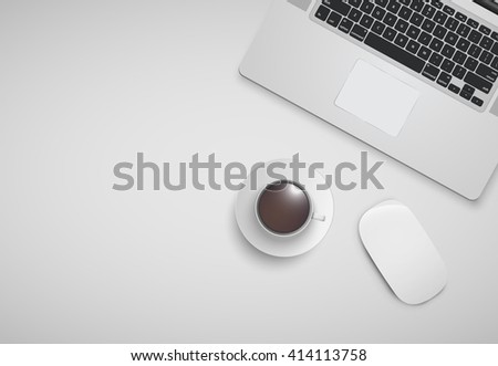 Minimal office with computer, mouse and a cup of coffee, vector illustration - stock vector