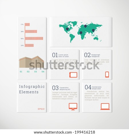 Minimal scalable tile design infographics with cloud icon set, map and diagrams for report, presentation, statistics - green, blue, red, brown version