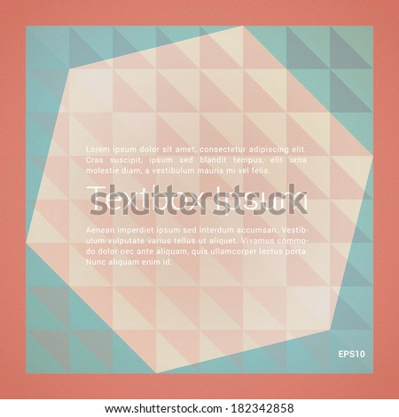 Minimal scalable vector background built of geometric elements for text box, web site banner, cover design - orange, cyan version - stock vector