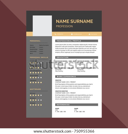 Minimal simple elegant resume cv template stock vector 750955366 minimal simple and elegant resume cv template design yelopaper Images