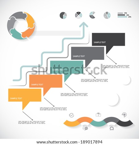 Minimal style infographic template, five steps - stock vector