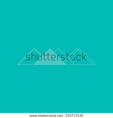 Minimal triangle mountains. Conceptual symbol. Flat design background, with geometric landscape. Use for card, poster, brochure, banner, web design. Easy to edit. Vector illustration - EPS10. - stock vector