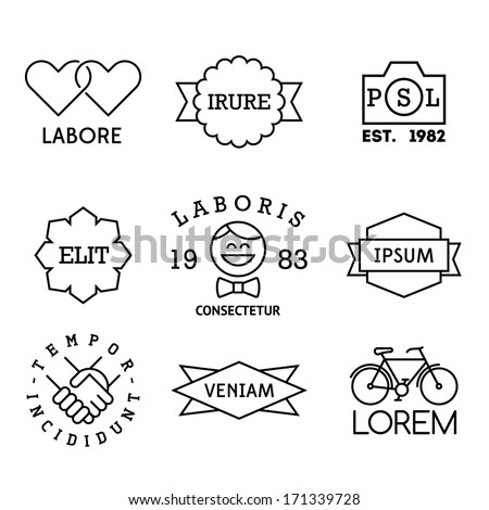 minimal vintage labels with heart, hipster, bicycle - stock vector
