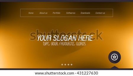 Minimal Website Home Page Design with Slider background and space for text in header and footer. - stock vector