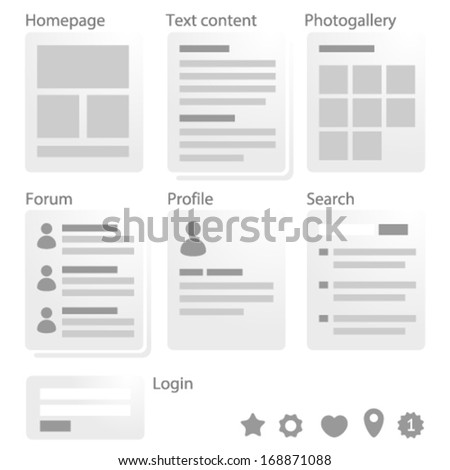 Minimal website map toolkit with main webpage types - stock vector