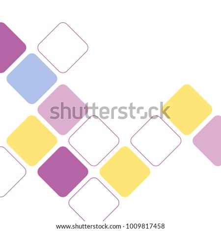 Minimalist abstract flat square pattern design in pastel spring colors against white background