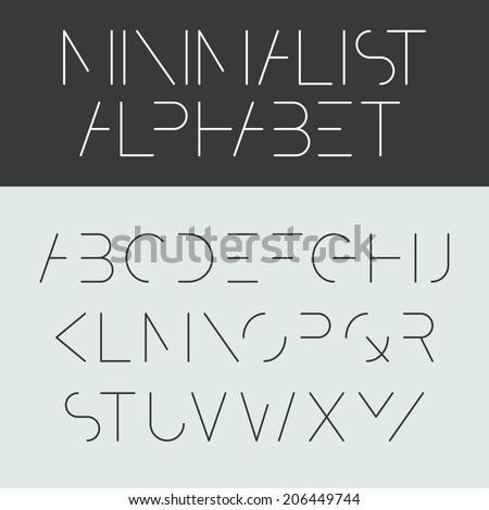 Minimalist alphabet. Font design, vector. - stock vector