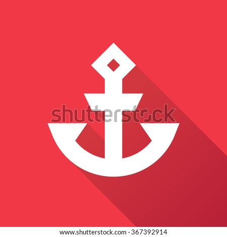 Minimalist anchor symbol icon logo graphic with shadow - stock vector